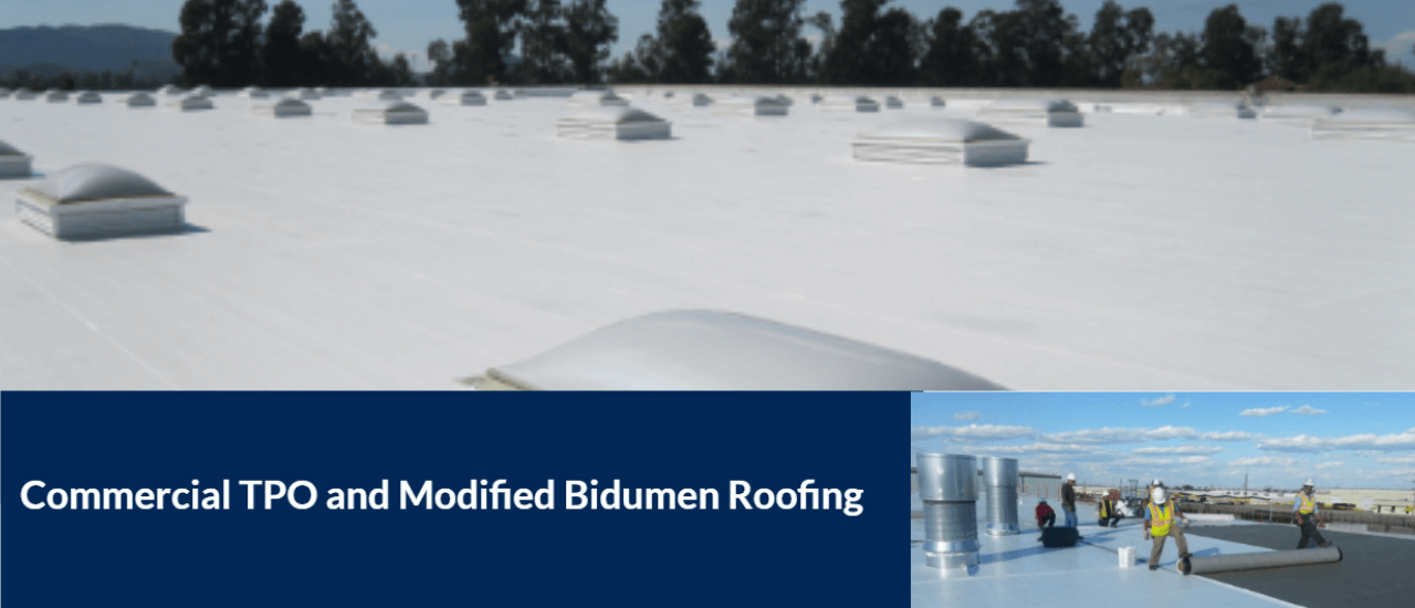 Commercial TPO and Modified Bidumen Roofing 1280x550